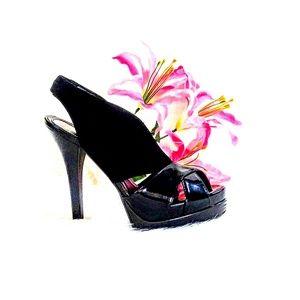 4ef6f680f15 🎀Fendi Black Suede Crisscross Peep Toe Slingback